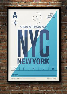NYC Flight Tag Poster by Neil Stevens #type #travel #poster