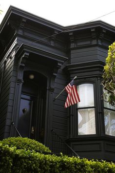 Black Painted San Francisco Victorian with American Flag #flag #house #black