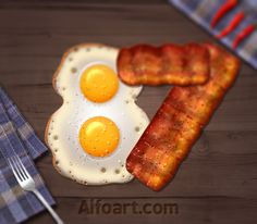Fried eggs and bacon text effect. Learn how to create 3d fast food text effect. This Adobe Photoshop tutorial teaches how to apply fast food #letters #icons #food #hot #fried #french #delicious #text #eggs #effect #fries #hamburger #dog #in #fast #bacon #sandwich #pancakes #tutorial #photoshop #3d
