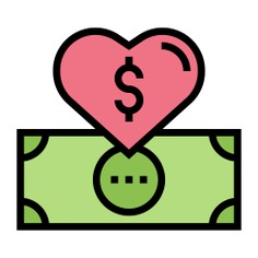 See more icon inspiration related to money, cash, dollar, largess, Solidarity, dollar symbol, charity, donate, donation and social on Flaticon.