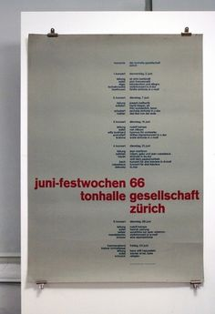 Juni-festwochen 1966 - Tonhalle Gesellschaft Zürich | Flickr - Photo Sharing! #brockmann #swiss #modernism #mller #josef #typography