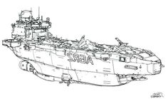 illustration, sparth, ship, cargo, line, drawing