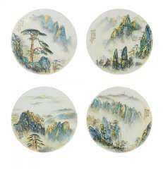 Four round plates with landscapes of the Huangshan mountains #porcelain