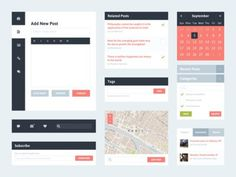 Freebie PSD: Flat UI Kit 2 (Blog) #digital #design #web #ui