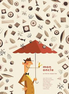 Mon Oncle film poster for the Silver Screen Society by Andrew Kolb #illustration #umbrella #movie #poster