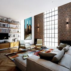 Michaelis Boyd - Battersea Power Station #interior #brick #design #living #clean #minimalist