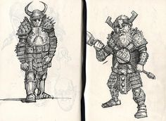 Unlikely heroes - Joseph Sanabria #fantasy #fighters #illustration #dwarf #magic #warrior #character #sketch #viking