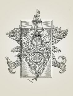 Syndicate Original #ocean #heraldry #engraving #ship #sea #anchor