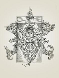 Syndicate Original #ocean #heraldry #engraving #ship #sea #anchor