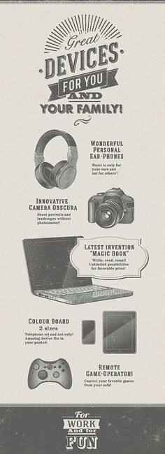 A la lithography on Behance #laptop #devices #camera #lithography #headphones #illustration #vintage #typography