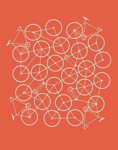 Bike Mess by Brent Couchman #illustration #bike #orange #poster