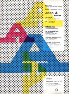Franco Grignani Pagina pubblicitaria - Endo A vitanina A in soluzione acquosa Annuncio presente nella rivista Bellezza d'Italia, rassegn #grignani #graphic #franco #typography