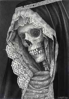 Laurie Lipton's 'Carnival of the Dead' #illustration #saint #skull