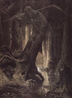 Lithuania, Artur Grottger #grim #reaper #supernatural #spectre #woods #haunting #horror #float #trees #illustration #spooky #ghoul #forest #scary