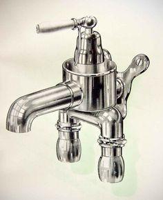 tap.jpg (1022×1254) #metal #illustration #tap