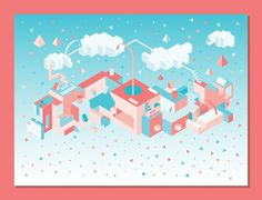 Kate Moross, Isometric island 2012 #isometric #2012 #graphic #island #moross #art #kate