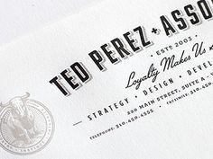 Dribbble - Ted Perez Branding - Letterhead Crop by Alex Rinker #letterhead #branding #typography