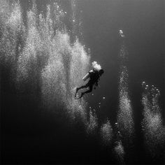 Black and White Underwater Photography by Hengki Koentjoro #white #bubbles #black #figure #silhouette #and #dark #underwater