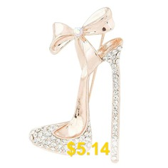 Bow #Diamond #High #Heel #Brooch #Chest #and #Flower #Accessories #- #CHAMPAGNE #GOLD