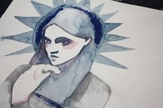 Untitled | Flickr - Photo Sharing! #isabelle #tincellante #illustration #laydier #vierge #libert #watercolor