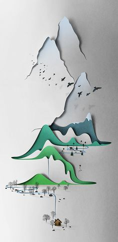 Vertical landscape by Eiko Ojala #landscape #illustration #nature #mountains #valley #collage #paper #vertical