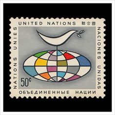 United Nations Postage Stamps – Part 1 #50 #stamp #globe #postage #geometric #bird