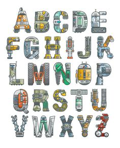 """Robotalphabet"" Alphabet Art by Scott Park"
