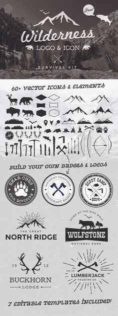 Free Wilderness Vector Graphics & Logo Template Kit #logo design #typography
