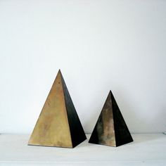 Brass Geometric Triangle Pyramid Statues - Set of 2 - Pair