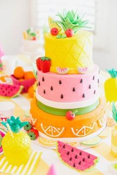 Two-tutti fruity Birthday Cake Photos