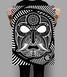 METODO DE DIBUJO MEXICANO... on Behance #vector #white #sadik #mexico #black #mexican #mask #and #samurai #style