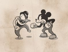 undefined #mickey #mouse #donald #duck #illustration #fight