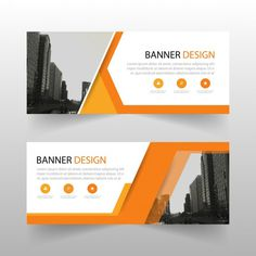Geometric banner with orange shapes Free Vector