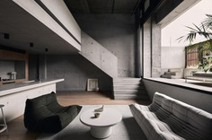 A concrete interior inside a Melbourne apartment. Clifton Hill apartment, Studio Goss, Melbourne.
