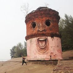A street artist makes derelict structures come alive by adding eyes and facial features. Nikita Nomerz's work ranges from water towers pain #clever #mural