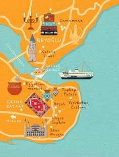 zara picken istanbul map homes and antiques magazine #illustration #maps