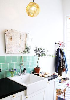 green tile sink #interior design #decoration #decor #deco