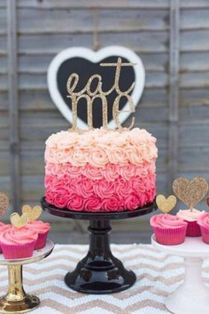 Rose pink birthday cake