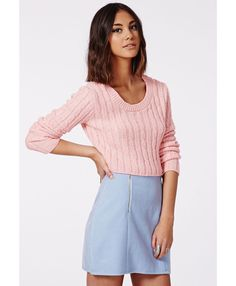 Aqsa Knitted Cable Crop Jumper Pink - Knitwear - Missguided #fashion