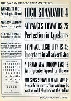 Ludlow Radiant Bold Extra Condensed type specimen #type #ludlow #specimen #typography