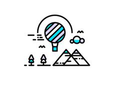 Ain't No Mountain High Enough #logo #sky #illustration #mountain #illustrator #balloon #line #detail #icon #drawing #vector #tree