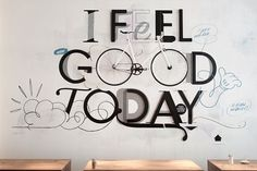 The Cool Hunter - I Feel Good Today At Erste Liebe Bar, Hamburg #cool #hunter #design #graphic #the #bar #art #bike #hamburg #typography