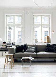 the dark grey sofa