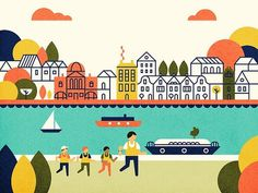 River Run Parko Polo #map #illustration #minimal #buildings