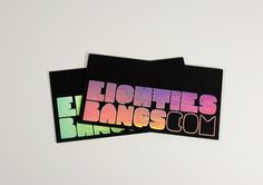 FPO: Eighties Bangs Business Cards #stamp #business #card #rainbow #foil
