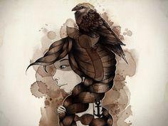 Dribbble - The raven by Mc Baldassari #raven #illustration #ink #watercolor