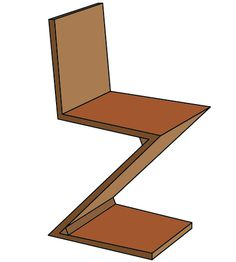 Gerrit Rietveld - Zig Zag Chair - #illustration #interiordesign