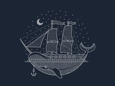 Brian Steely #whale #sail #illustration #ship #sea #boat #anchor