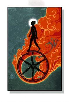 The Walker by *IRIRIV on deviantART #wheel #fire #smoke #painting