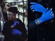 Priscilla Dwomoh by Gabrielle A. Shamon MUA+H: Sydney Irene TaylorStyling: GLEANAssistance: Annie Noelker + Devin Goetz #blue #painted #woman #hands